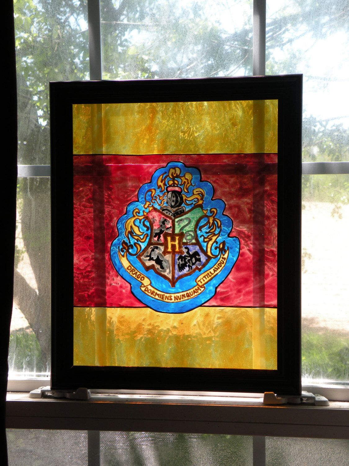 Hogwarts Crest Harry Potter Faux Stained Glass Painted Art Gryffindor Slytherin Hufflepuff Ravenclaw Window Suncatcher Panel By StardustStudiosGlass On Etsy