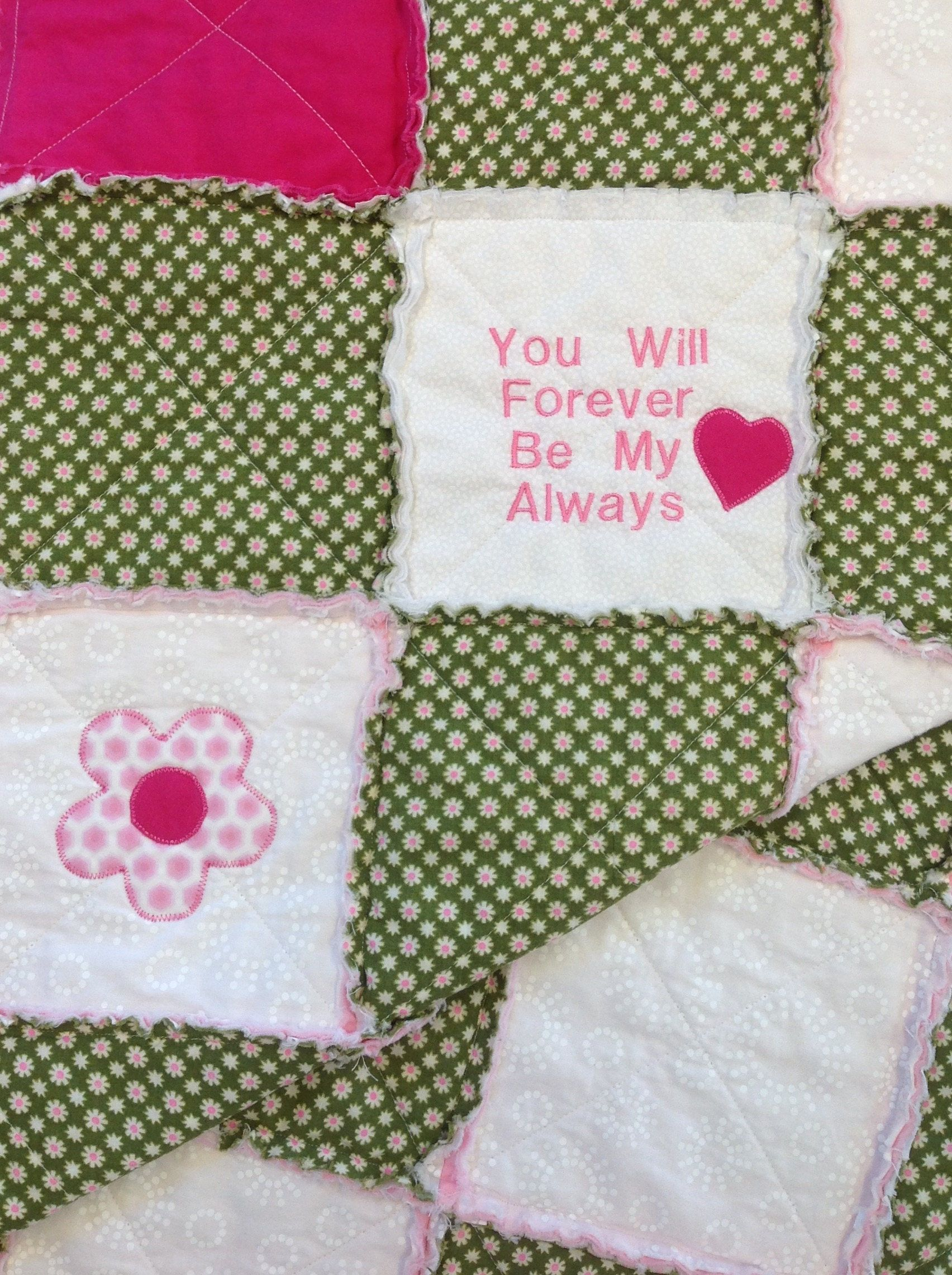 Embroidered Quilt, Appliqué Quilt, Floral Quilt, Girls Quilt, Rag ... : floral quilts for sale - Adamdwight.com