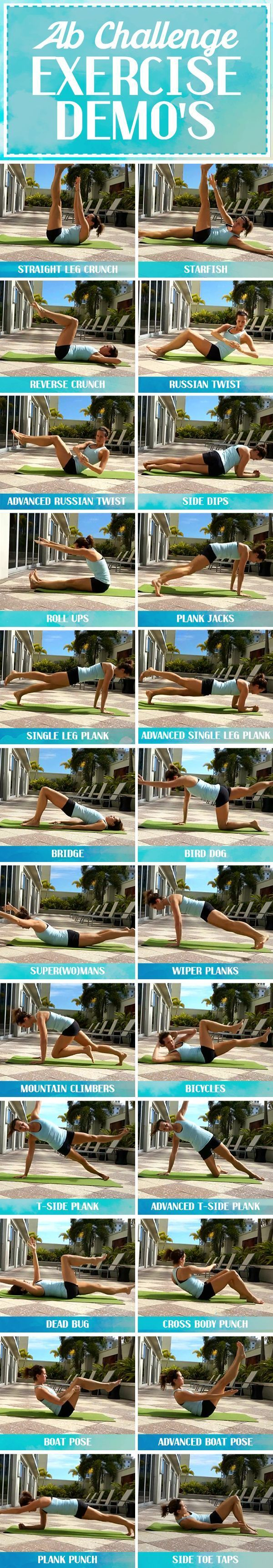 Ab Challenge Exercises Demonstrated - RunToTheFinish #abchallenge