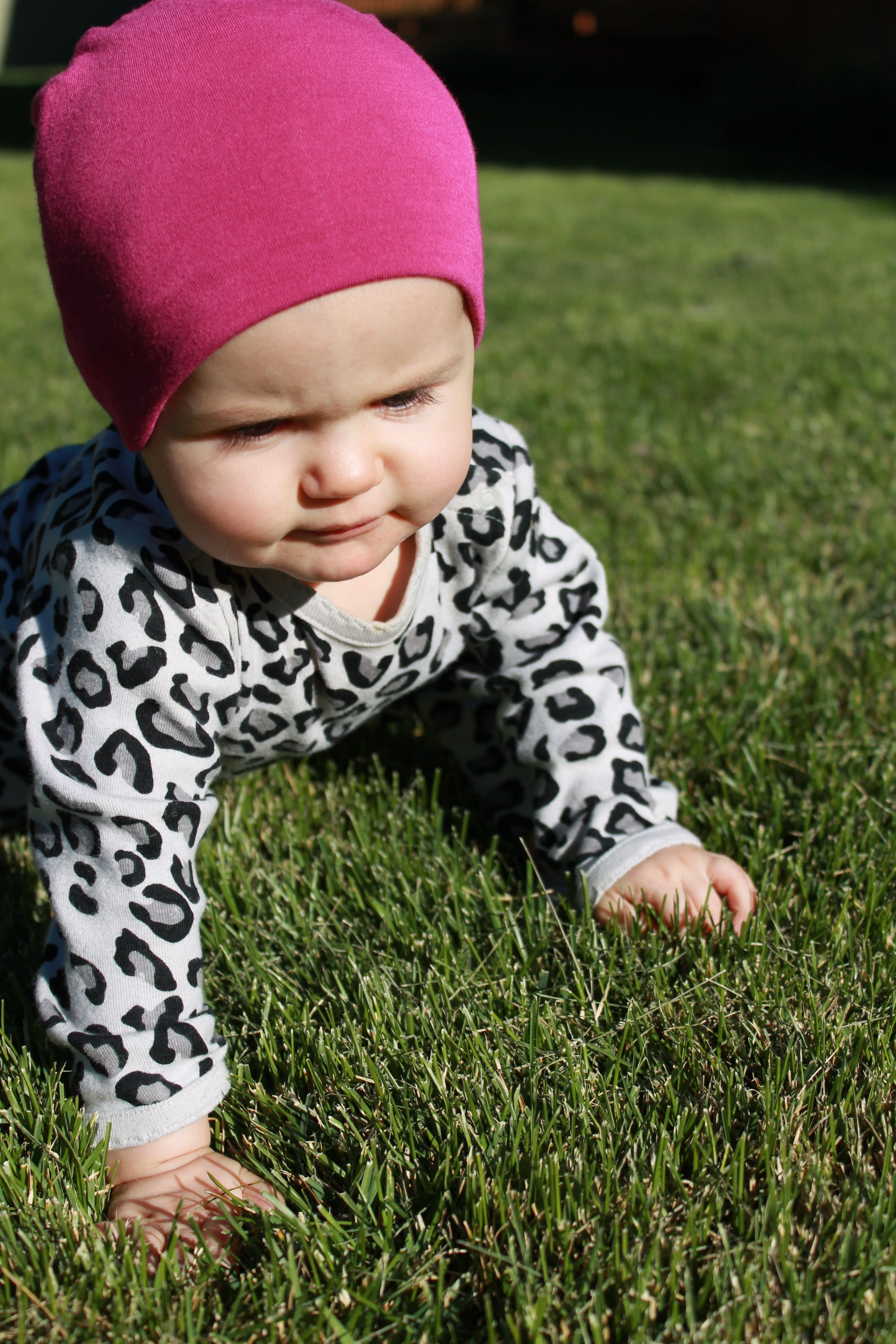 Freyja looking adorable in her Yala Baby Bamboo Dreams Beanie in Raspberry.
