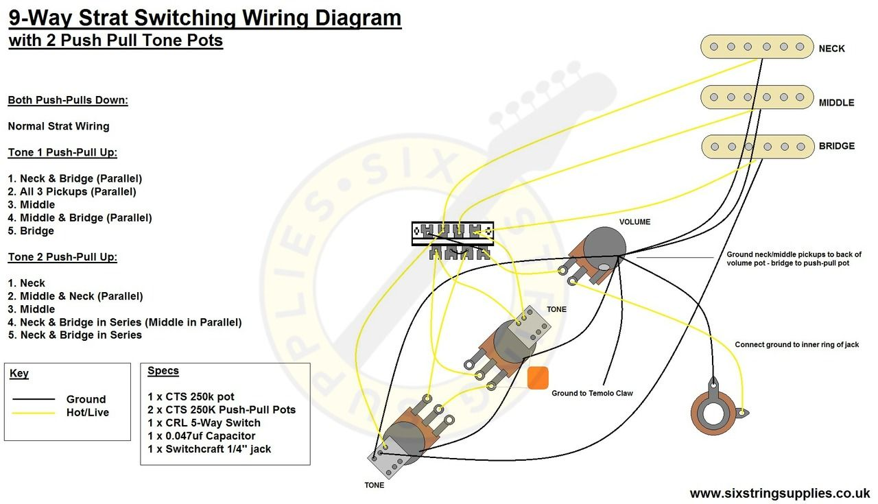 9Way Strat Wiring Diagram | Guitars in 2019 | Wire
