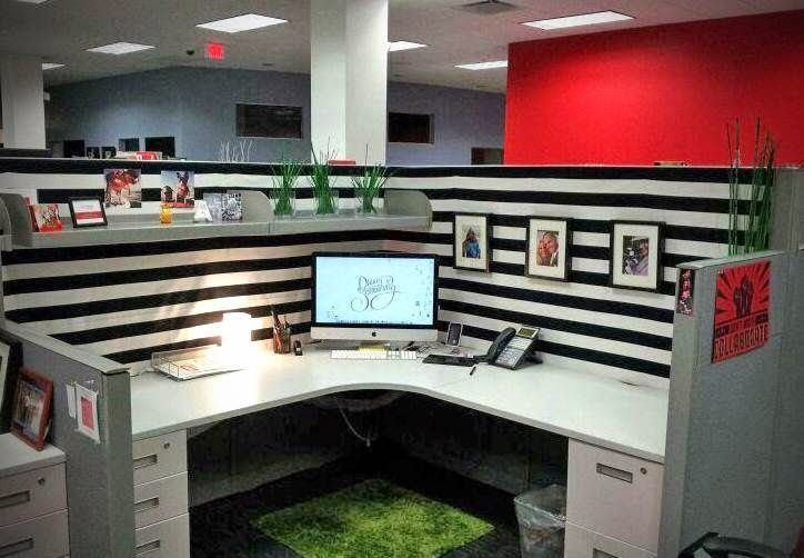 Cubicle Décor Ideas To Make Your Home Office Pop: Staple Fabric To The Ugly Walls In Your Cubicle For