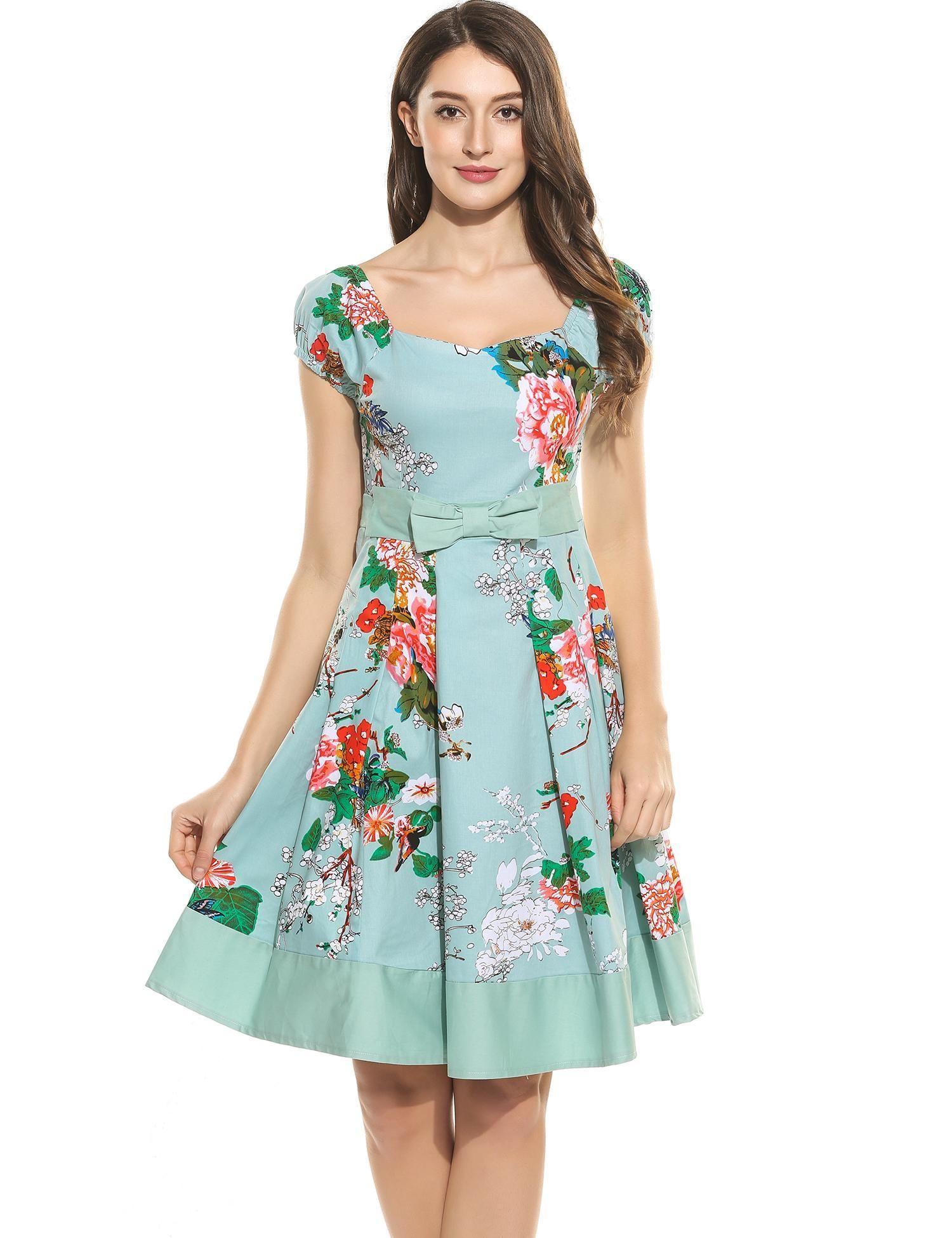 Azul cielo Nueva mujer Vintage estilos V-cuello Puff manga arco túnica  imprime una línea de vestidos plisados Patchwork Hem dresslink.com 1fbdacb1f502