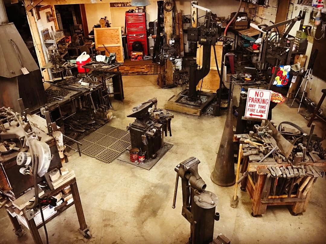 """dirtysmith: """"Spent the day rearranging my side of the #forge. Got a 125lb #powerhammer to squeeze in next to the 75lb. The 125 needs a little bit a rebuilding as the previous owner didn't take care of it and trashed the cylinder. No worries though as..."""