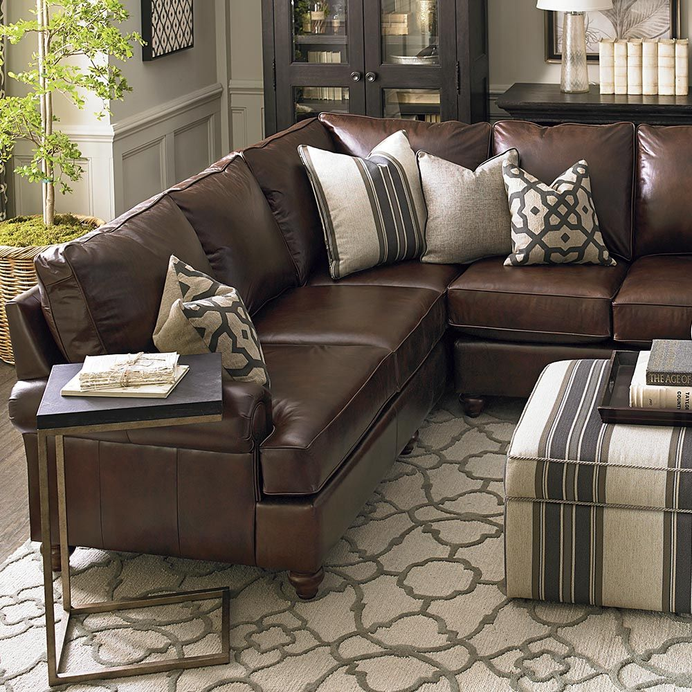 Leather Sectional Living Room Turner Roll Arm Leather 3 Piece L Shaped Sectional Pottery Barn