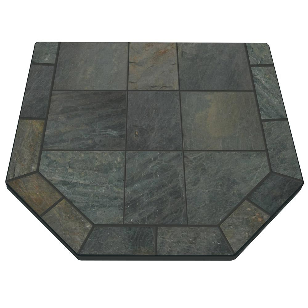 Hearth Boards: Natural Smokey Slate 40'' X 40'' Double Cut Hearth Pad