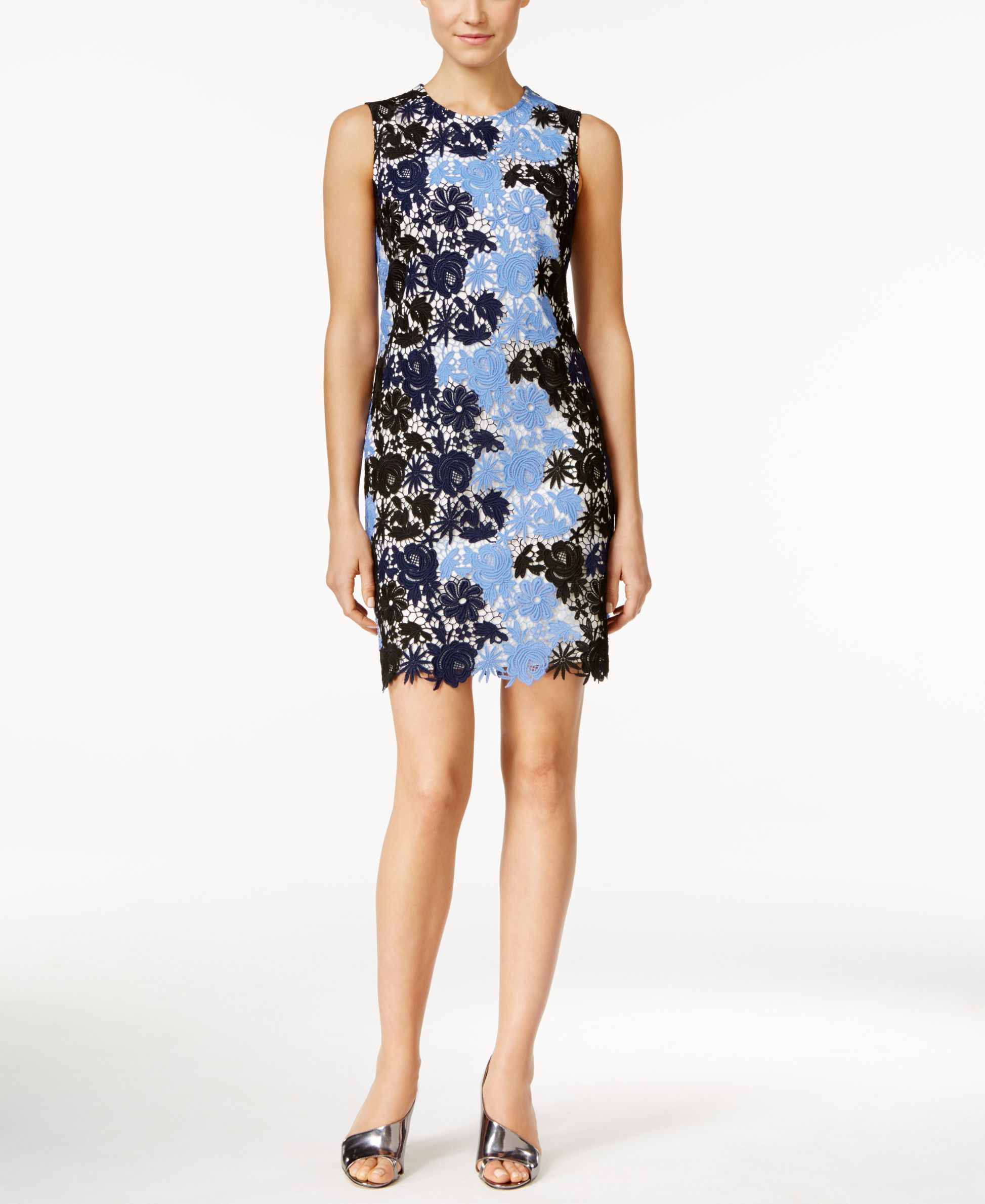 0f251c1b Calvin Klein Sleeveless Floral Lace Sheath Dress   Products   Lace ...