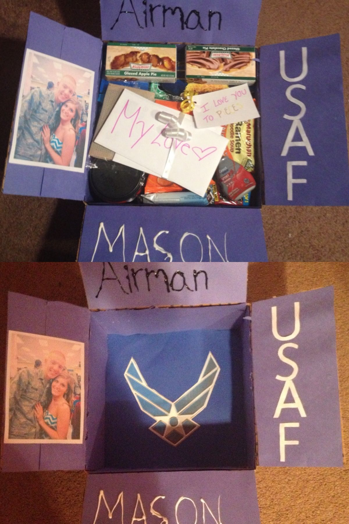 The care package I sent to Air Force boyfriend