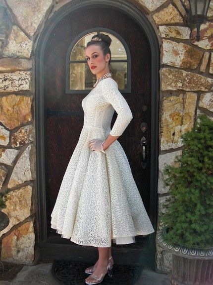 1950s Tea Length Wedding Gown Change The Hair And Shoes It Could Be