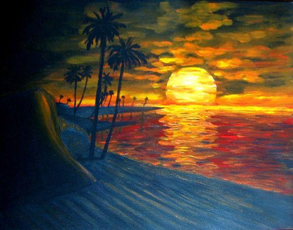 Easy Beach Sunset Paintings Beach Sunset Acrylic PaintingEasy Beach Sunset Paintings