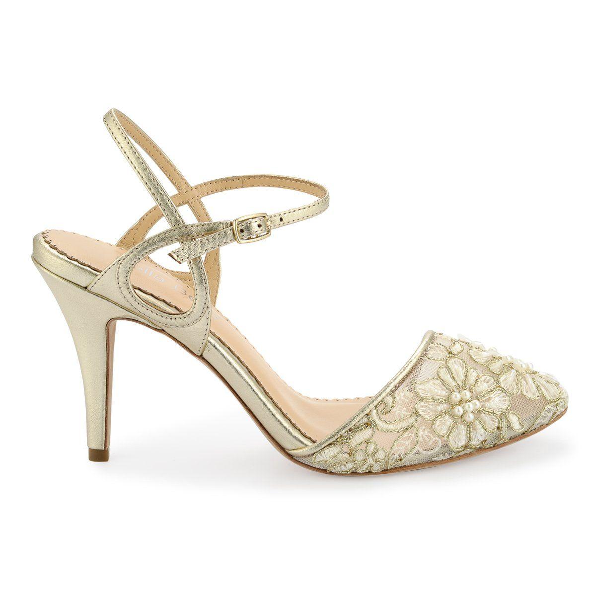 Kitten Heels Gold Low Heel Shoes Ankle Strap Heels Gold Evening Shoes Gold Low Heel Shoes