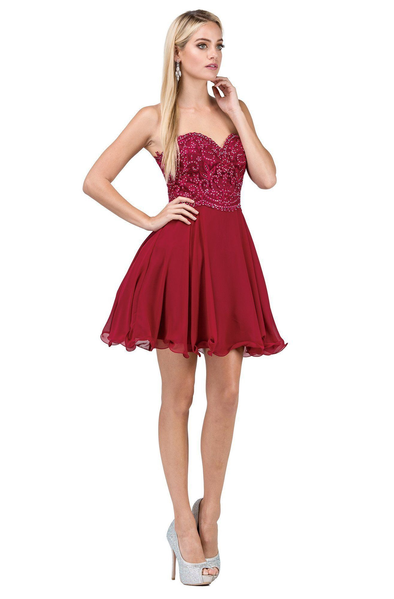 Dancing Queen 3005 Scallop Detailed Strapless Homecoming Dress Fit And Flare Cocktail Dress Strapless Homecoming Dresses Homecoming Dresses [ 2000 x 1314 Pixel ]