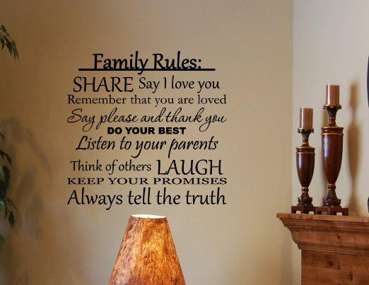 Family Rules: Share, say I love you, do your best... Vinyl wall decals quotes... - Amazon.com for a sign in the house