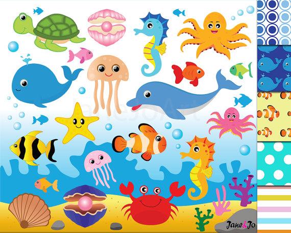 50 offsale sea animal clipart sea animals clipart sea creatures rh pinterest ph cute sea creature clipart Seahorse Clip Art