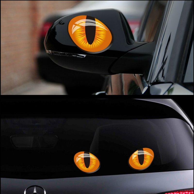 1 pair Fun 3D Cat Eyes Car Truck Stickers Window Decor Graphics Sticker Decals