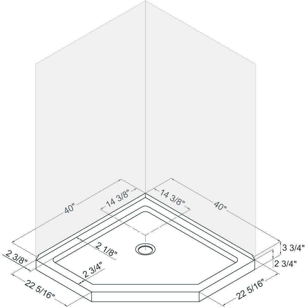 Dreamline Slimline 40 In X 40 In Neo Angle Shower Base In White