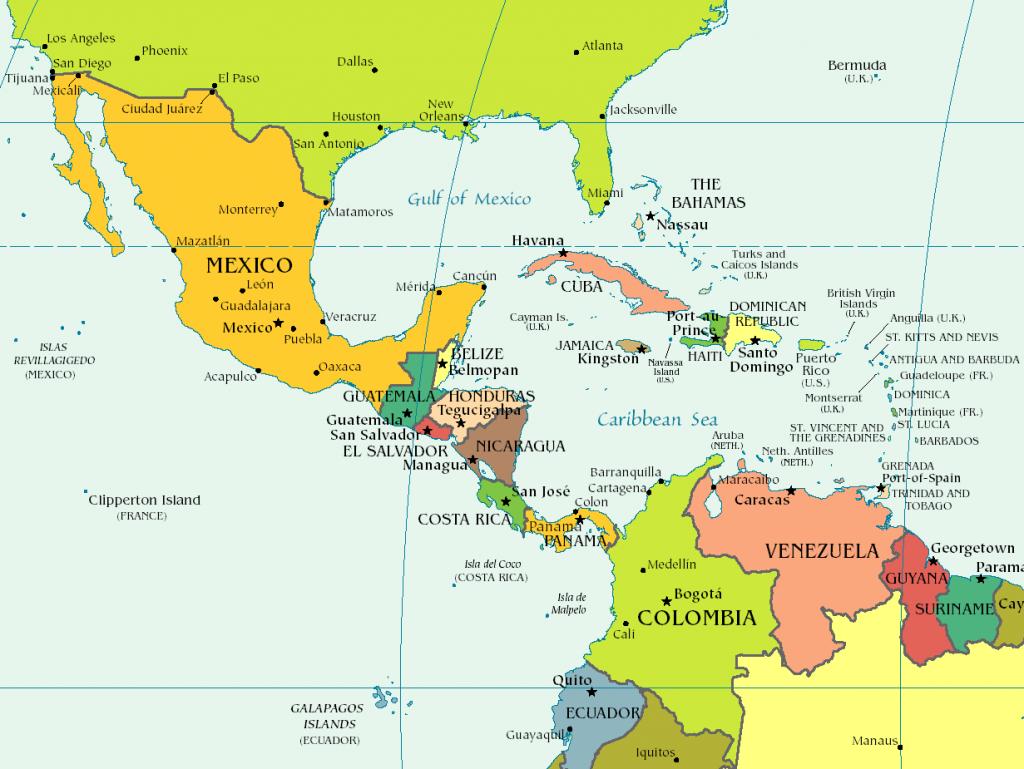 Carte Amerique Latine Et Centrale.Carte Amerique Centrale 1024x769 Trip Amerique Latine