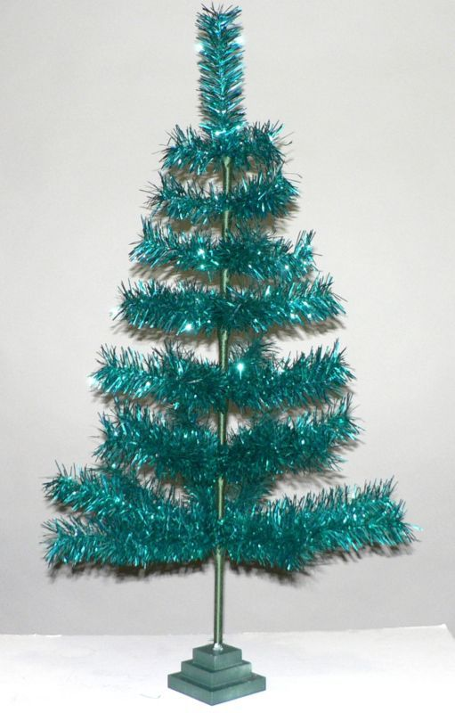 Vintage Look Teal Feather Tinsel Christmas Tree 36 Ebay