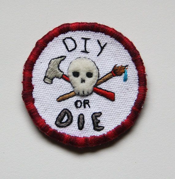 DIY or Die Patch Embroidered Black Canvas with White Skull and Red Text and Stars Choice of Finding Made in USA Crafty Merit Badge