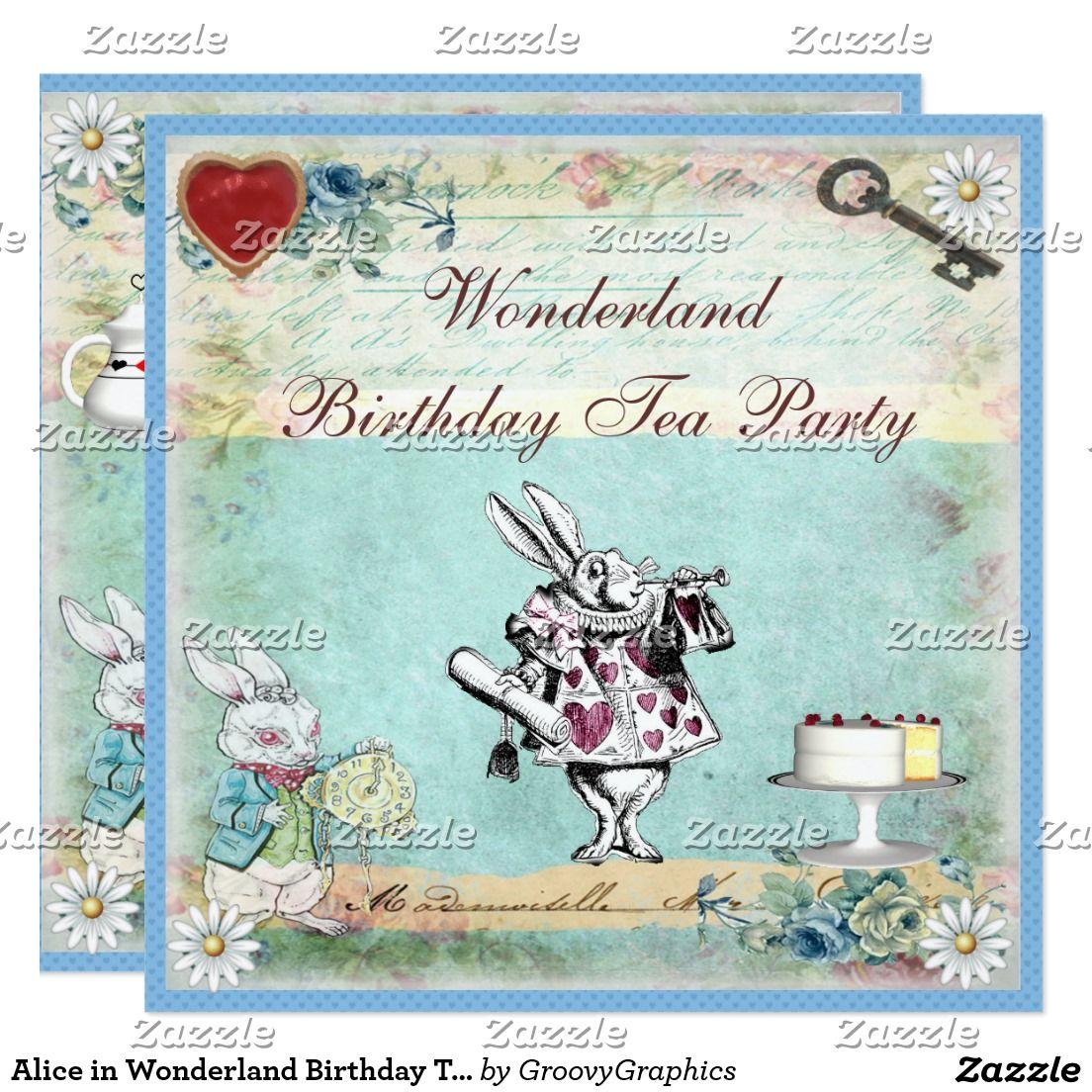 Alice in Wonderland Birthday Tea Party Invites   Tea Party ...