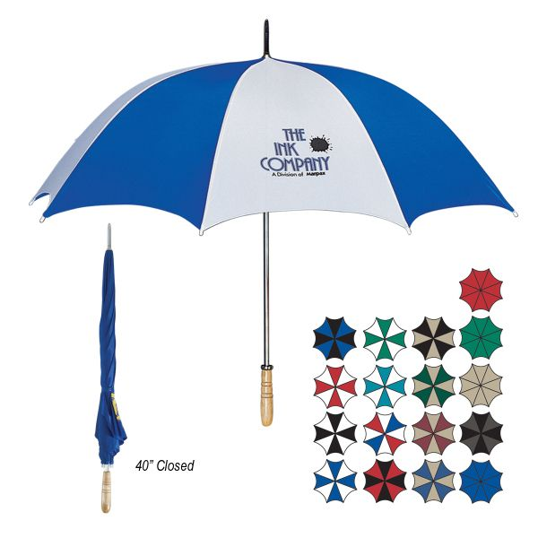 "Give your clients full coverage from the rain while fully exposing your brand! Made from nylon material, this 60"" golf umbrella features a metal shaft and wood handle. It measures 40"" when closed. Available in several different color combinations, customize this item with an imprint of your company name and logo for some added exposure. This large umbrella makes a great promotional giveaway for trade shows, golf tournaments and corporate incentives!"