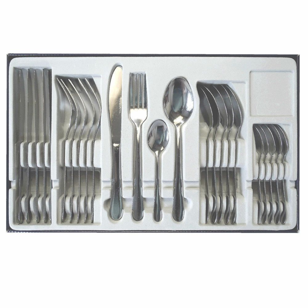 24 Pc Stainless Steel Cutlery Set Knife Forks Spoons Tea Spoons Full ...