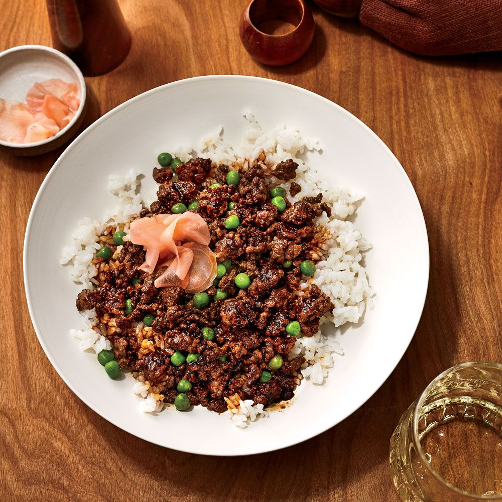 Soboro Donburi Gingery Ground Beef With Peas Over Rice Recipe Recipe Best Ground Beef Recipes Wine Recipes Ground Beef