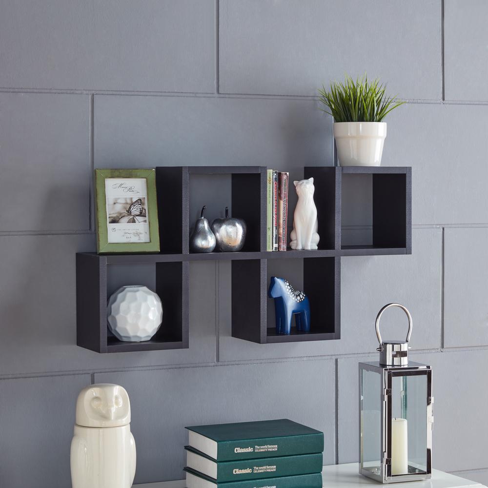 Danya B Black Mdf Cubby Chessboard Floating Wall Shelf In 2020 Wall Shelves Floating Wall Shelves Shelves