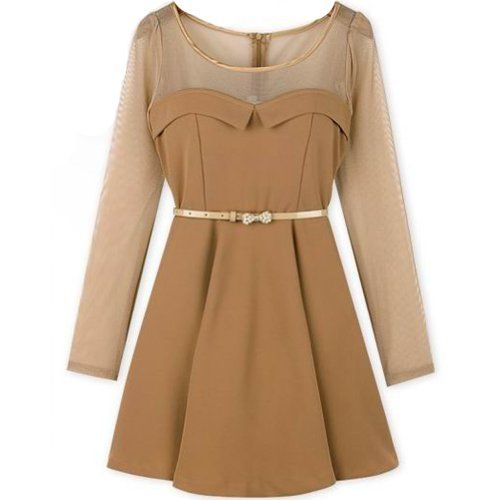 Translucent Long Sleeve Above-knee Tiny Dress Tops With Pearl Belt
