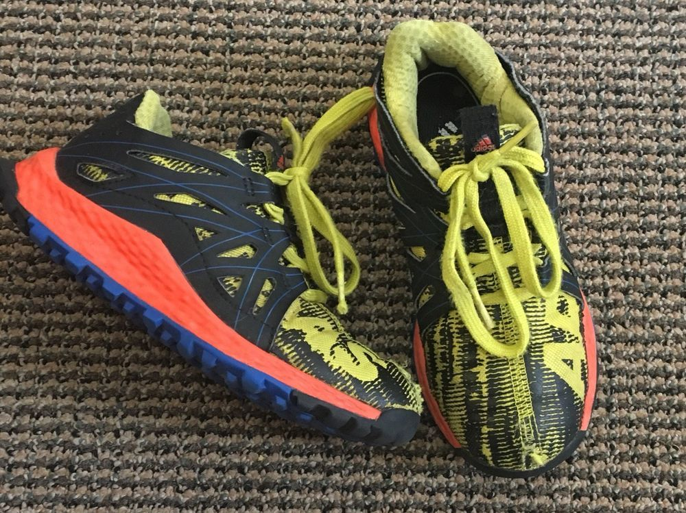 e4b703462 Adidas Boys Vigor Bounce Shoes Size 12K Blue Orange Yellow