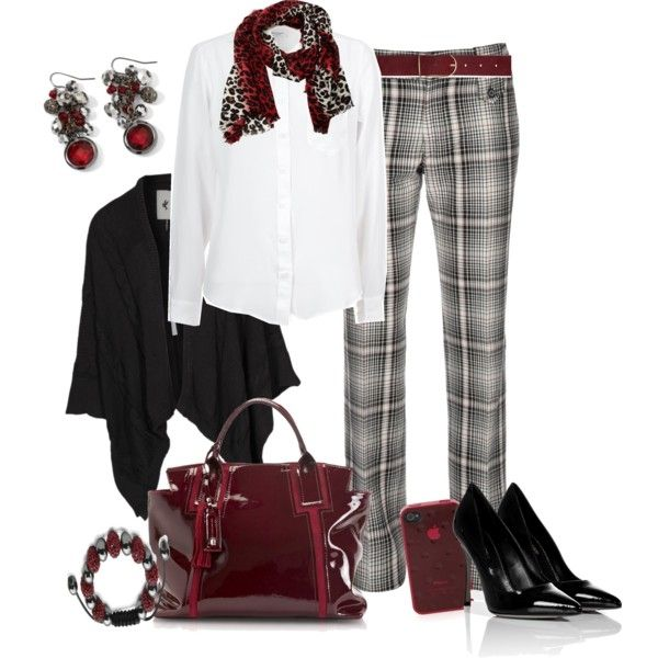 Love the pops of red & the mix in patterns of the scarf & pants