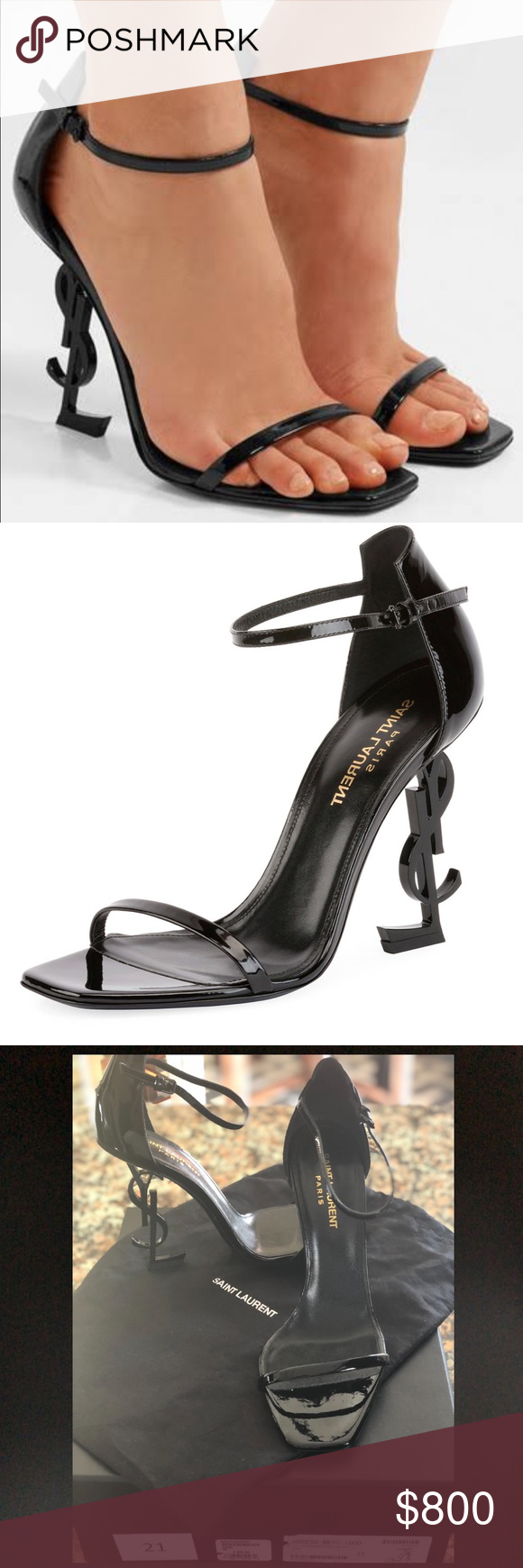 1d7fab23a92d Saint Laurent YSL Patent Sandal with Logo Heel 💥Price Drop💥 Great deal  for these sexy