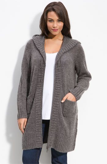 Long hooded cardigan. Comfy. Looks good with T-shirt and jeans.