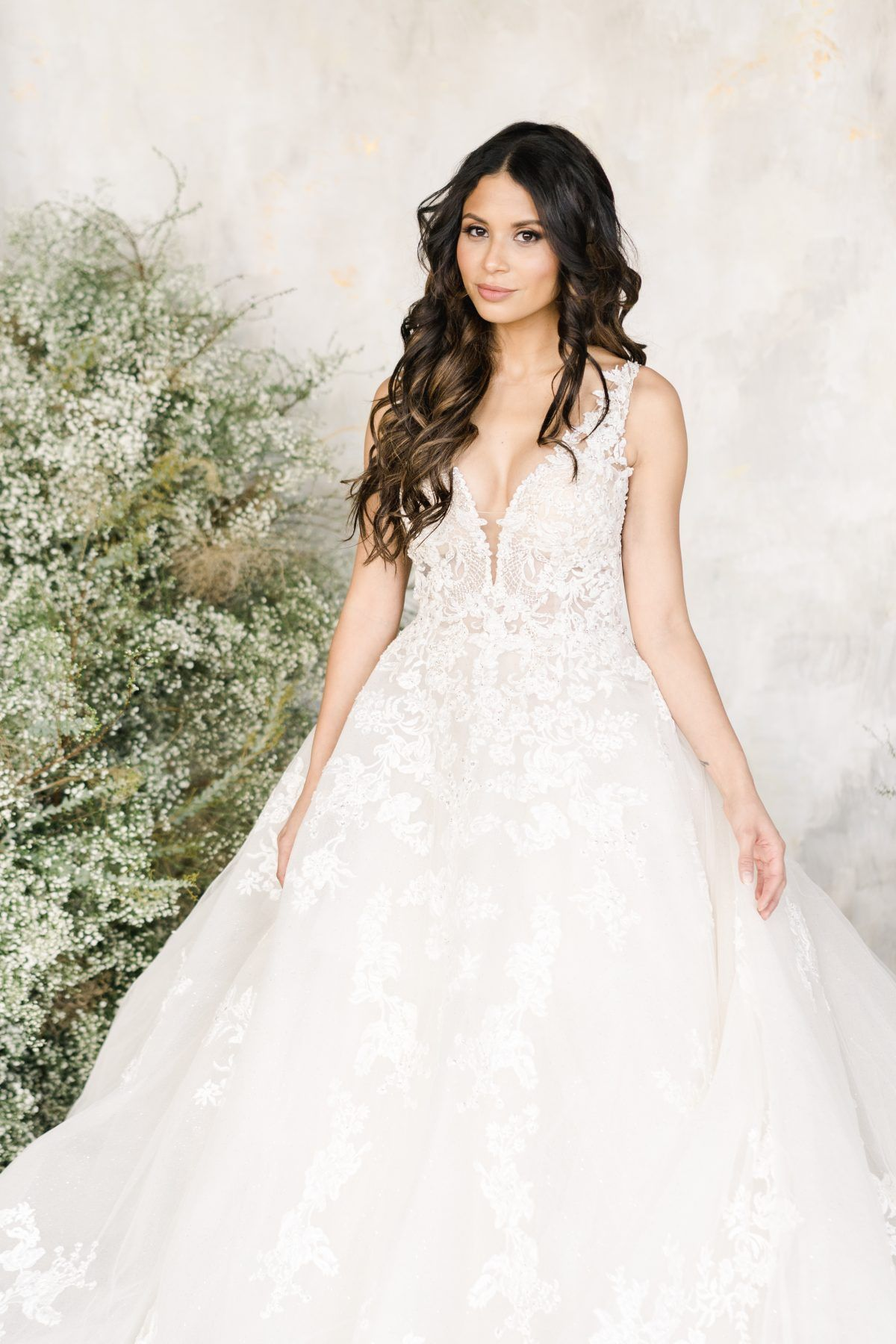 46+ V neck lace wedding gown info