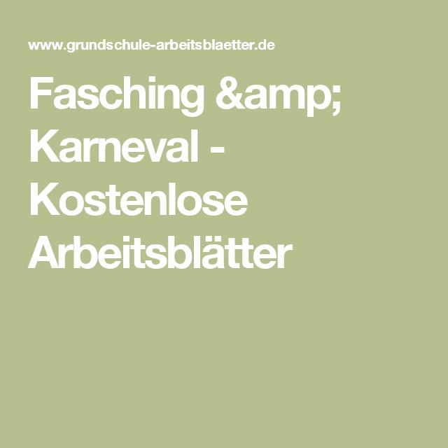 Fasching & Karneval - Kostenlose Arbeitsblätter | SU | Pinterest ...