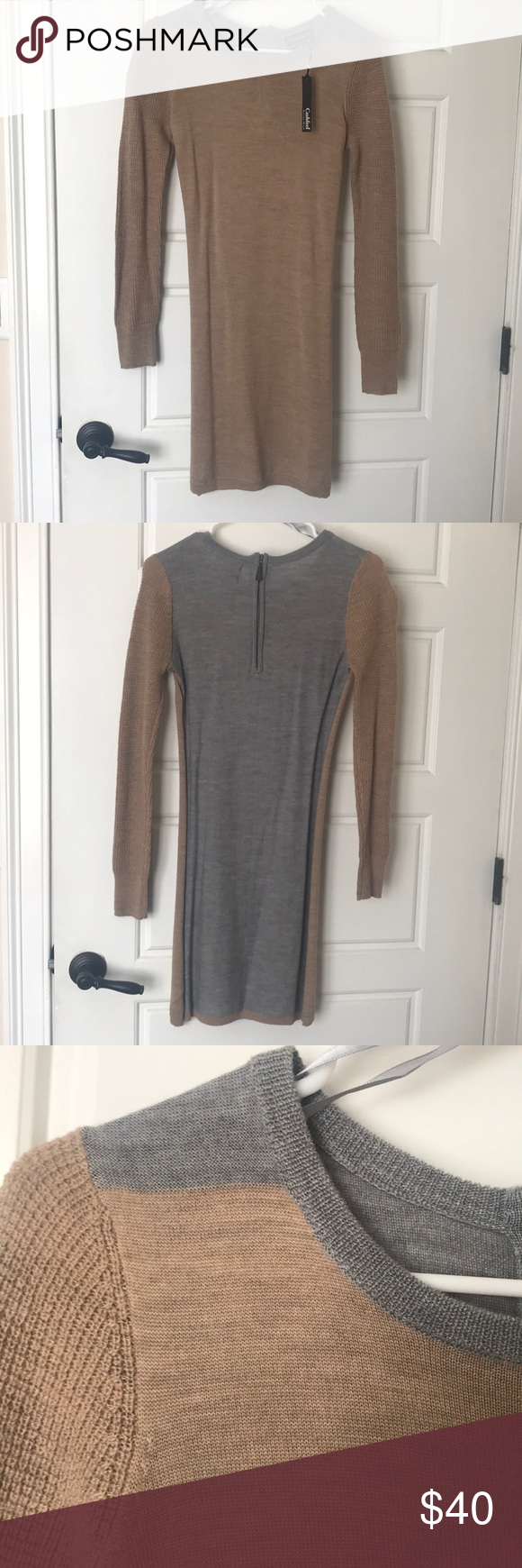 04fab617905 Tan grey sweater dress Long sleeve sweater dress. Front is tan and back is  grey. Brand new with tags never worn Cynthia Rowley Dresses Long Sleeve