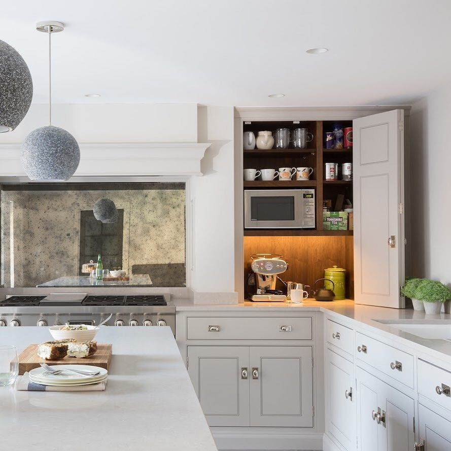 A Cool Grey Colour Palette In This Kitchen Is Warmed