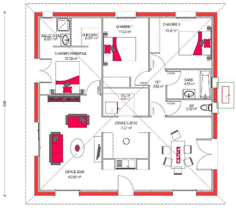 Plano De Casa Con Forma Cuadrada Planos De Casas Planos De Casas Minimalistas Planos De Casas Modernas