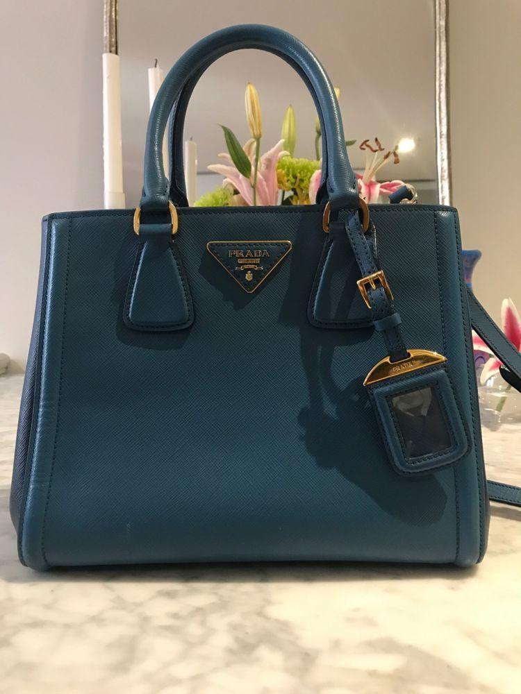 6994d5dc29 PRADA Bicolor Saffiano Lux Handbag in Bluette Cobalt Blue  louisvatton   designer  wearing  bag  gucci