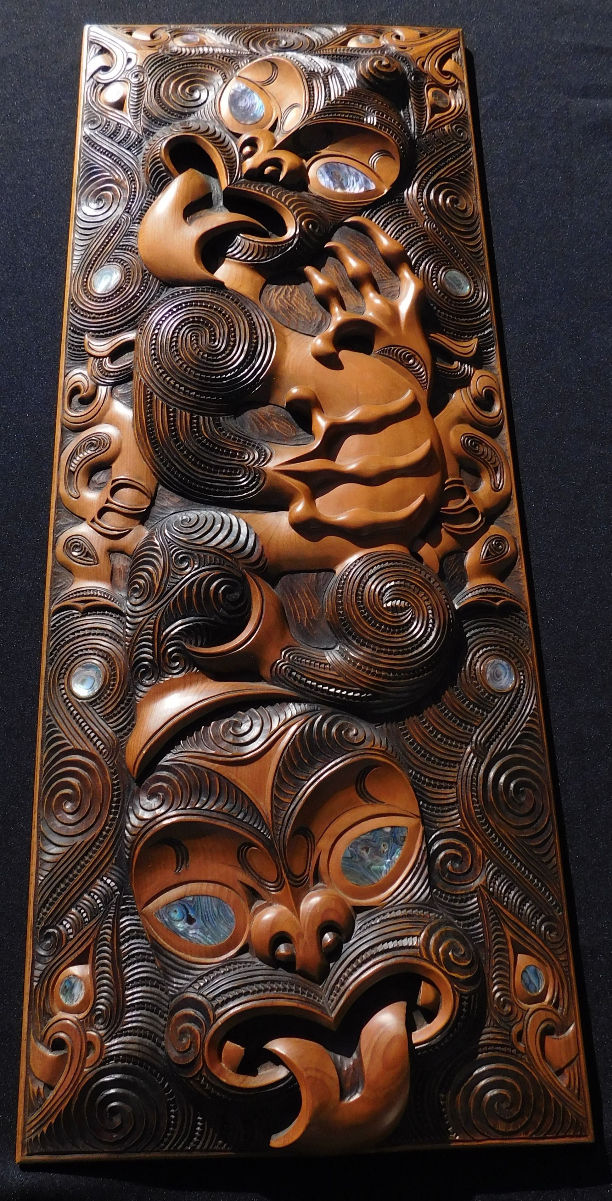 220 new zealand maori carved wood panel 20th century