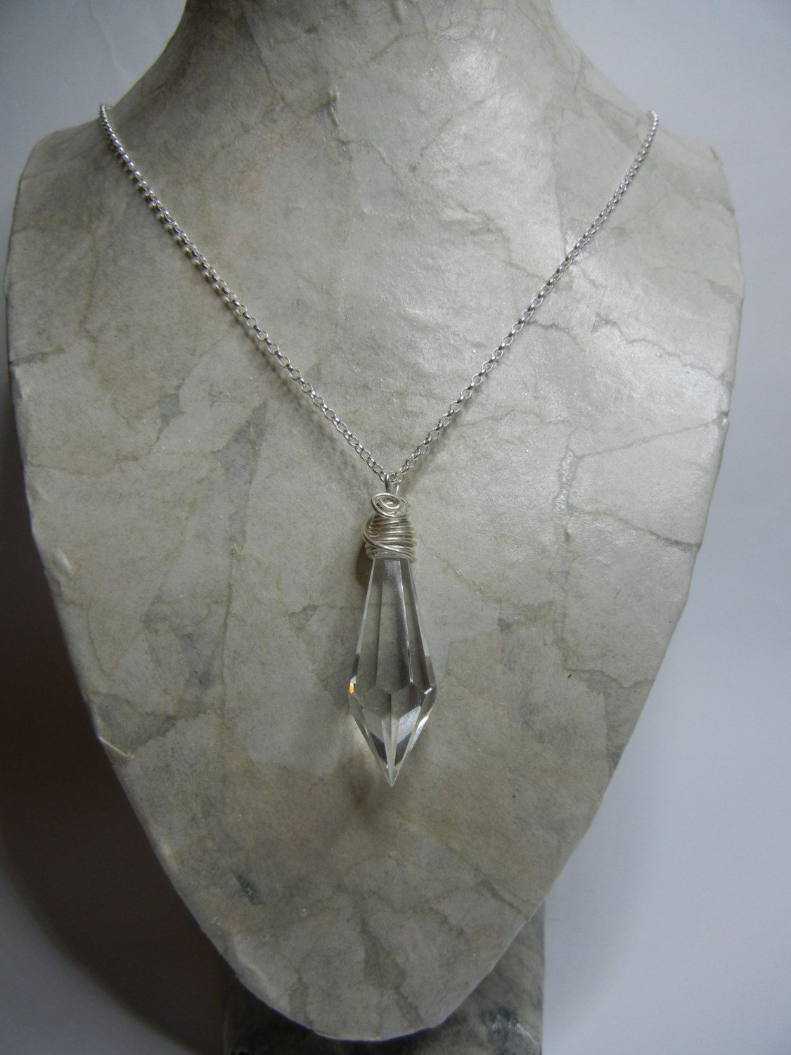 Crystal necklace crystal point scrying crystal sterling