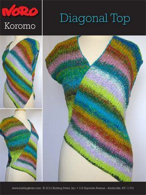 Free N1002 Koromo Diagonal Top   Knitting Fever   I love Noro ...