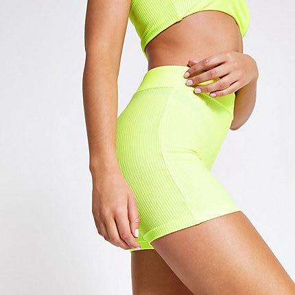 9b11dbc905 Neon green rib high waist swim shorts in 2019 | Products | Swim ...