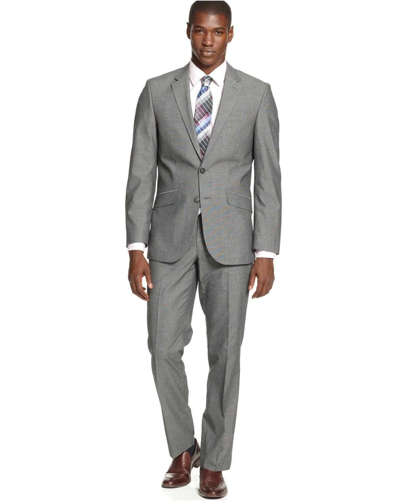 Unlisted by Kenneth Cole Mid Grey Pindot Slim-Fit Suit - Suits ...