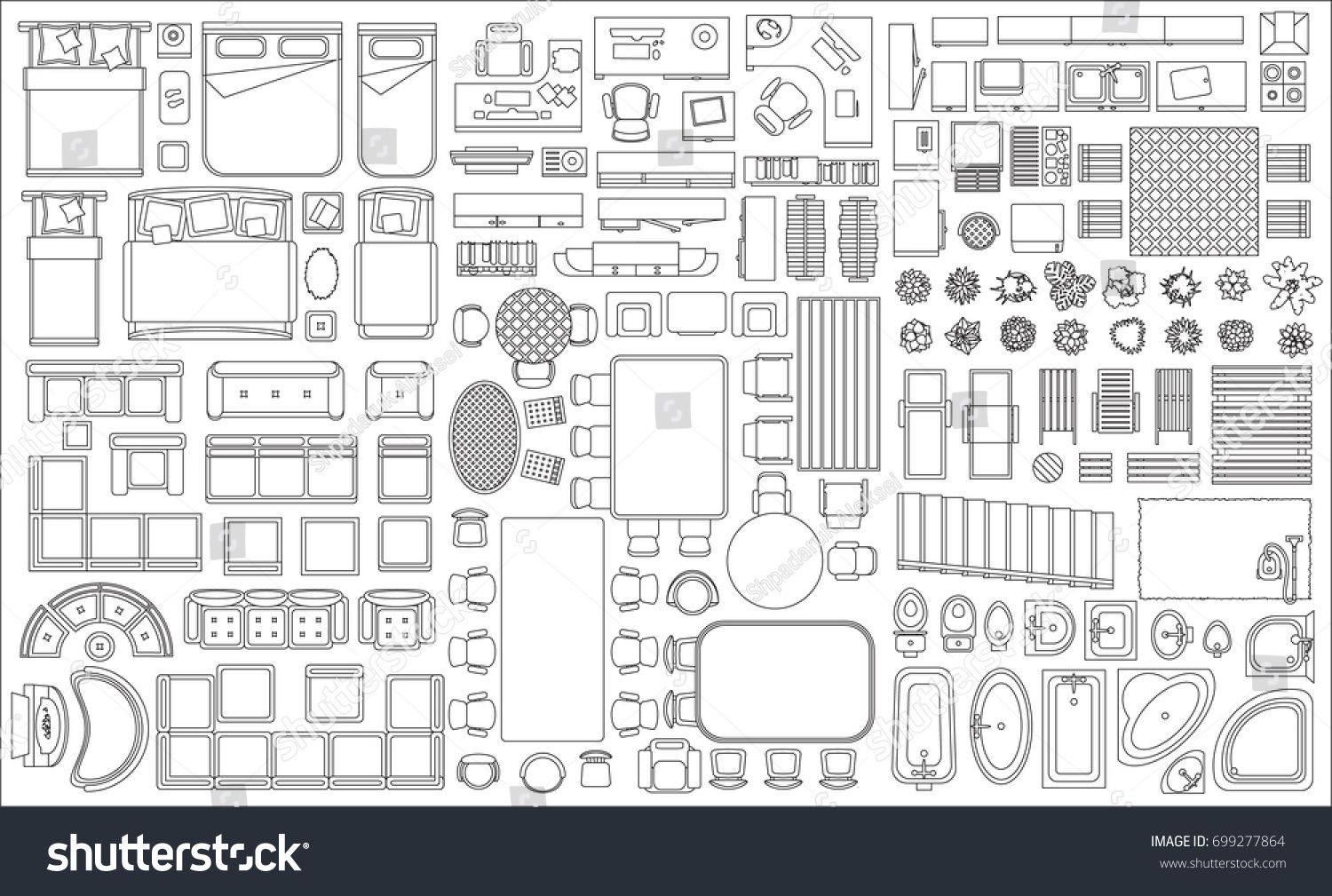 Black White Interior Design Furniture For Floor Plan ~ Set of linear icons interior top view isolated vector