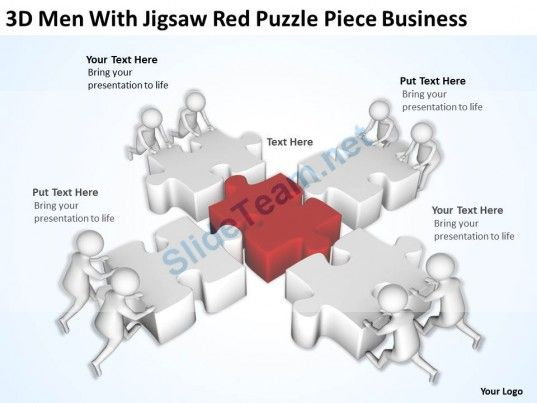 D Men With Jigsaw Red Puzzle Piece Business Ppt Graphics Icons - Jigsaw graphic for powerpoint