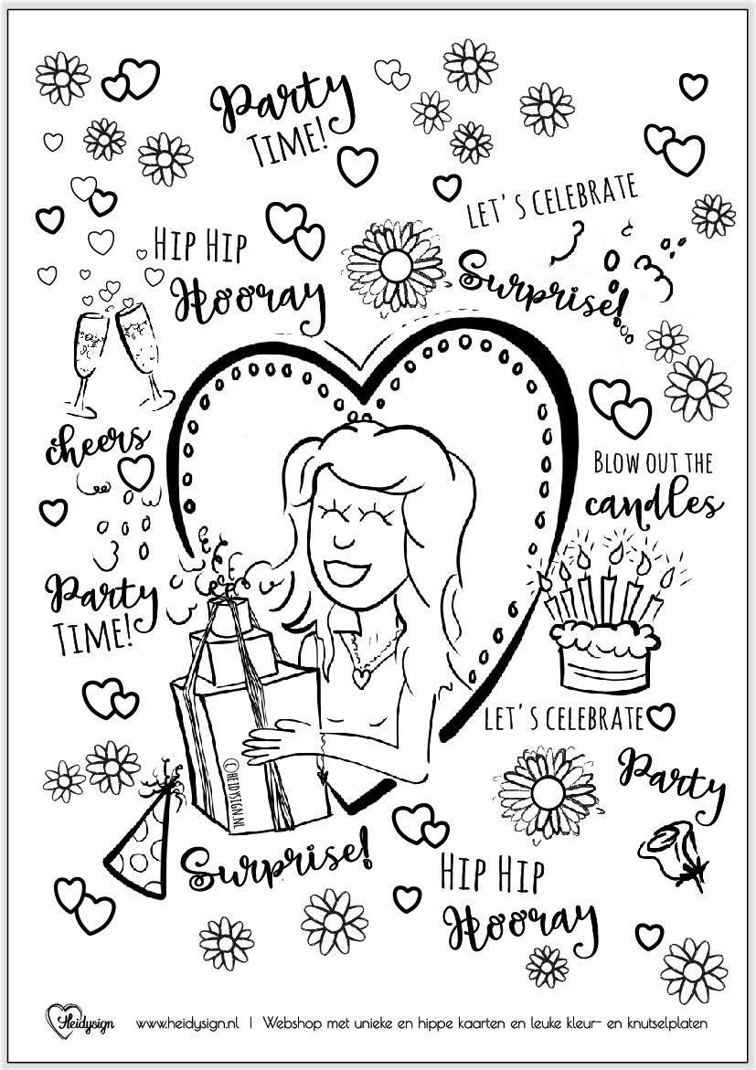 Kleurplaat Voor Volwassenen Verjaardag Kleurplaten Gratis Kleurplaten Verjaardagskaart
