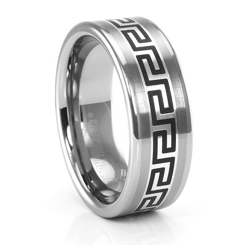 Greek Key Tungsten Sterling Silver Mens Wedding Band Aniumjewelry