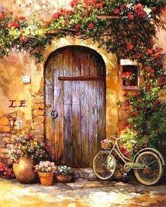 Cottage door & Cottage door | ART | Pinterest | Cottage door Acrylics and Paintings