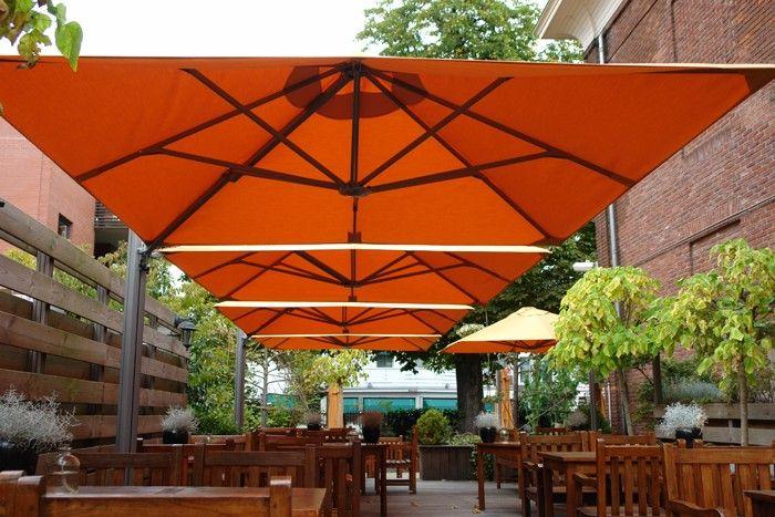 P6 Duo Square All Weather Umbrella Outdoor Restaurant Patio Outdoor Restaurant Design Beer Garden Ideas